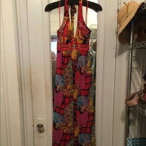 Sue Wong dress long size 6 red multicolor
